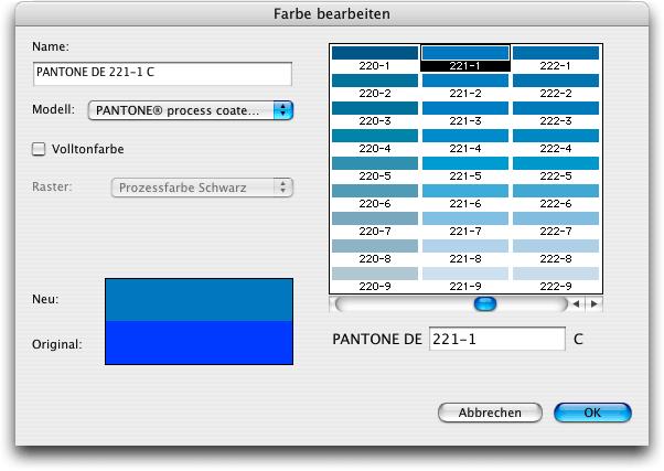 screenshot farbmodelle in quarkxpress - Farbpalette Blau